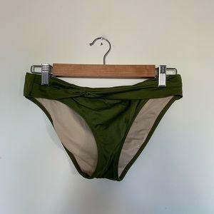 J Crew Olive Green Bikini Bottom Nylon Made USA